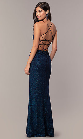 Caged-Back Corset Long V-Neck Sparkly Formal Dress