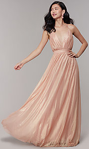Image of long chiffon deep-v-neck formal prom dress by Simply. Style: MT-SD-9769-1 Front Image