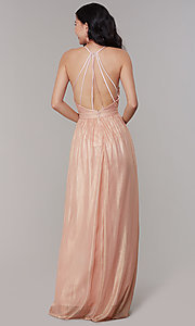 Image of long chiffon deep-v-neck formal prom dress by Simply. Style: MT-SD-9769-1 Back Image