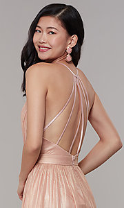 Image of long chiffon deep-v-neck formal prom dress by Simply. Style: MT-SD-9769-1 Detail Image 2