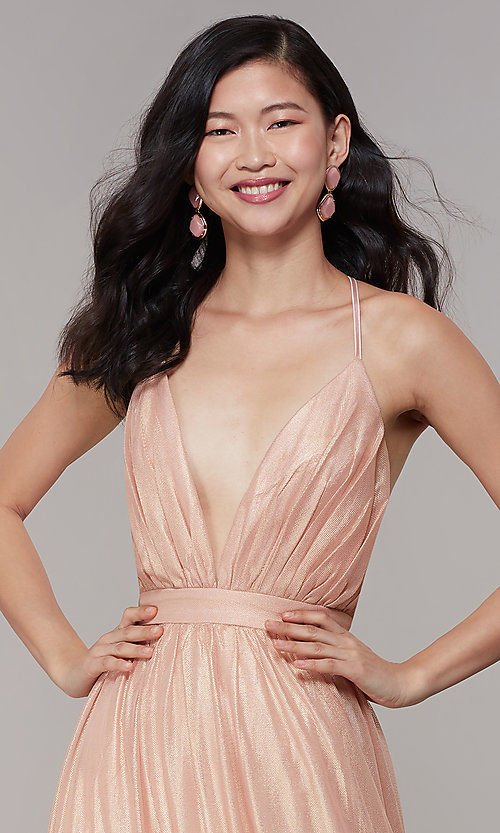 Image of long chiffon deep-v-neck formal prom dress by Simply. Style: MT-SD-9769-1 Detail Image 1