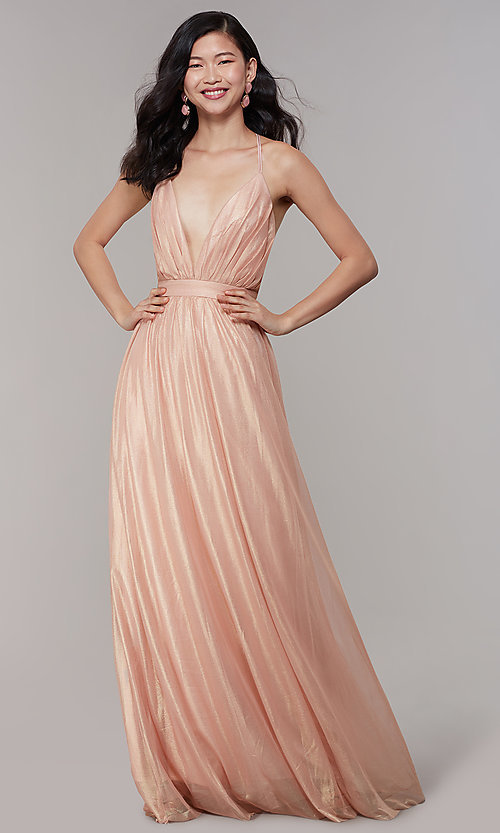 Image of long chiffon deep-v-neck formal prom dress by Simply. Style: MT-SD-9769-1 Detail Image 3