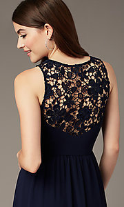Image of lace-back long navy blue formal dress by Simply. Style: MT-SD-9825-1 Detail Image 2