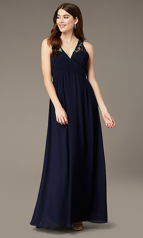 Image of lace-back long navy blue formal dress by Simply. Style: MT-SD-9825-1 Front Image