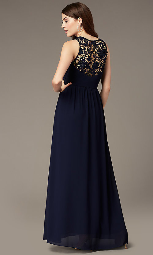Image of lace-back long navy blue formal dress by Simply. Style: MT-SD-9825-1 Back Image
