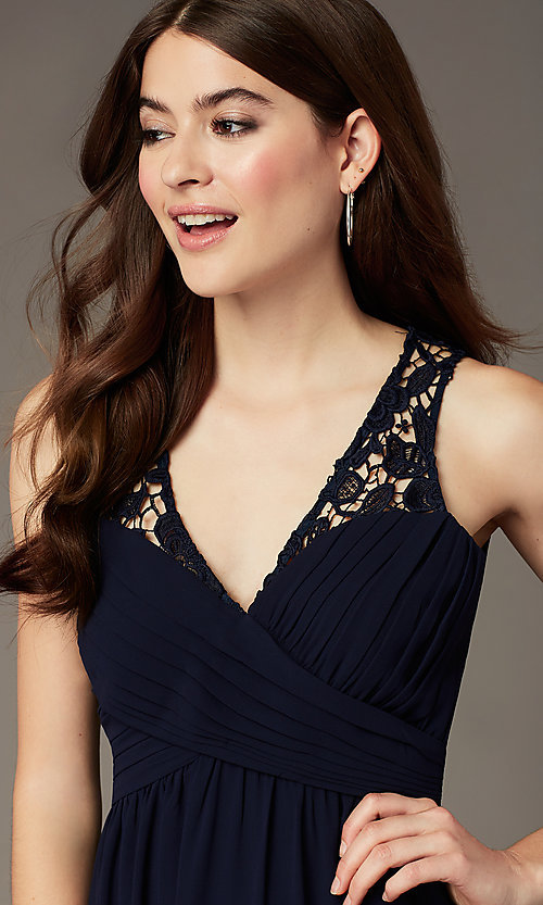 Image of lace-back long navy blue formal dress by Simply. Style: MT-SD-9825-1 Detail Image 1