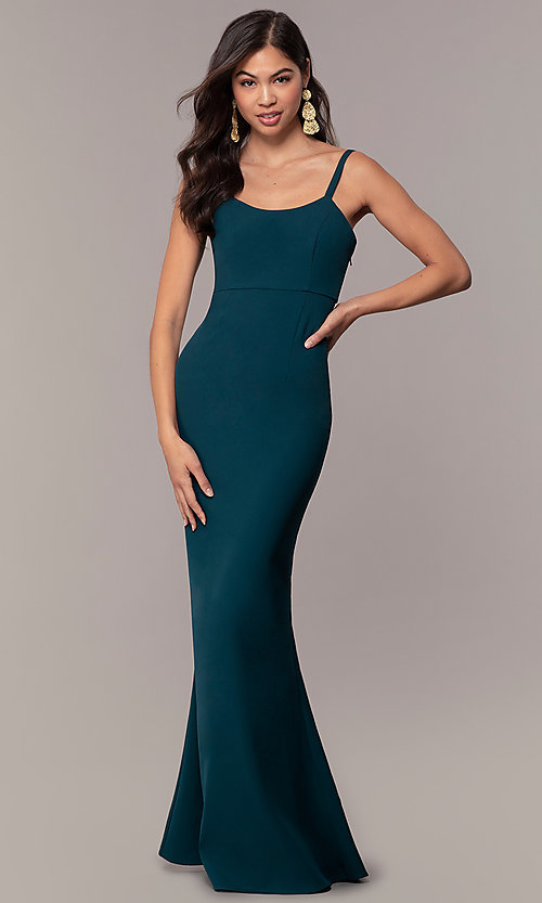 Image of backless long empire-waist mermaid formal dress. Style: MT-9697 Back Image