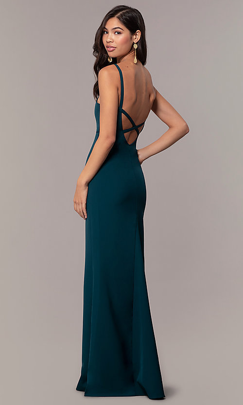 Image of backless long empire-waist mermaid formal dress. Style: MT-9697 Front Image