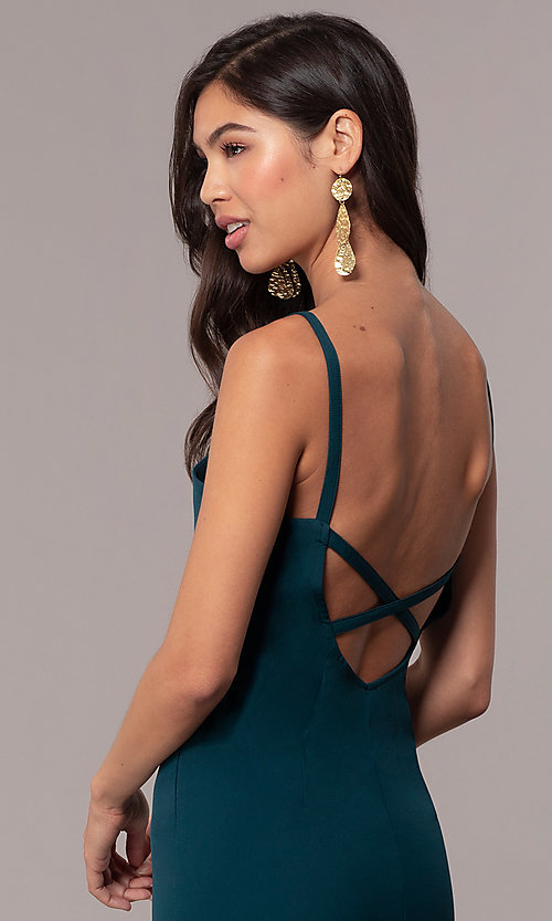 Image of backless long empire-waist mermaid formal dress. Style: MT-9697 Detail Image 2