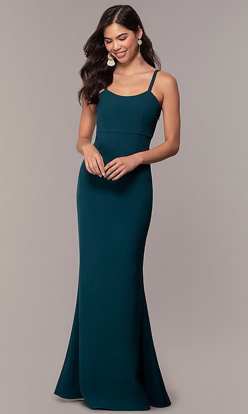Image of backless long empire-waist mermaid formal dress. Style: MT-9697 Detail Image 3