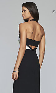 Image of v-neck two-tone halter long formal evening gown. Style: FA-S10236 Detail Image 2
