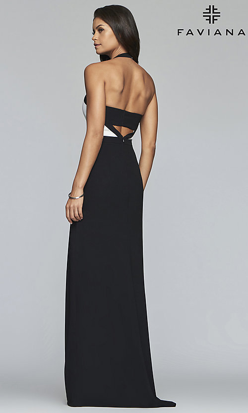 Image of v-neck two-tone halter long formal evening gown. Style: FA-S10236 Back Image