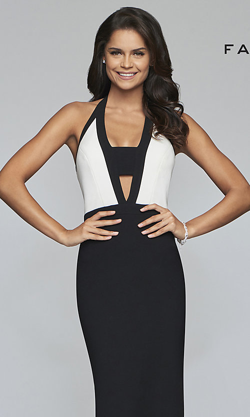 Image of v-neck two-tone halter long formal evening gown. Style: FA-S10236 Detail Image 1