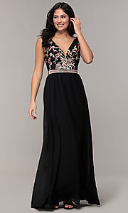 Image of sheer-back long chiffon formal dress with sequins. Style: SOI-M18435 Detail Image 4