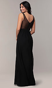 Image of sheer-back long chiffon formal dress with sequins. Style: SOI-M18435 Detail Image 5
