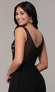 Image of sheer-back long chiffon formal dress with sequins. Style: SOI-M18435 Detail Image 7