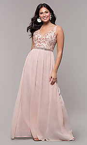 Image of sheer-back long chiffon formal dress with sequins. Style: SOI-M18435 Front Image