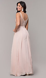 Image of sheer-back long chiffon formal dress with sequins. Style: SOI-M18435 Back Image