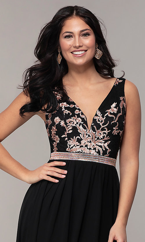 Image of sheer-back long chiffon formal dress with sequins. Style: SOI-M18435 Detail Image 6