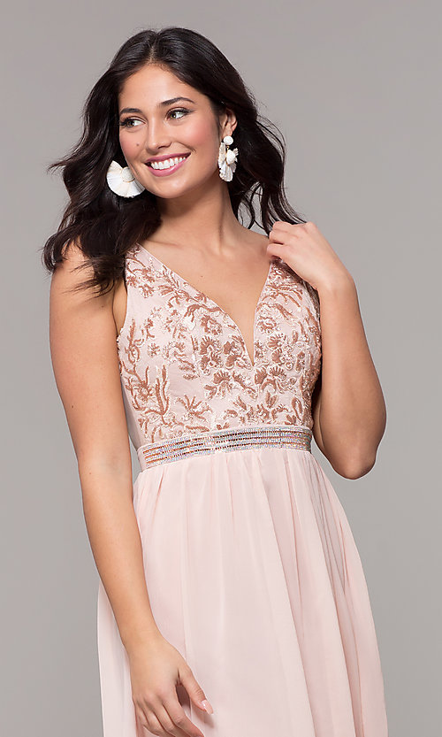Image of sheer-back long chiffon formal dress with sequins. Style: SOI-M18435 Detail Image 1