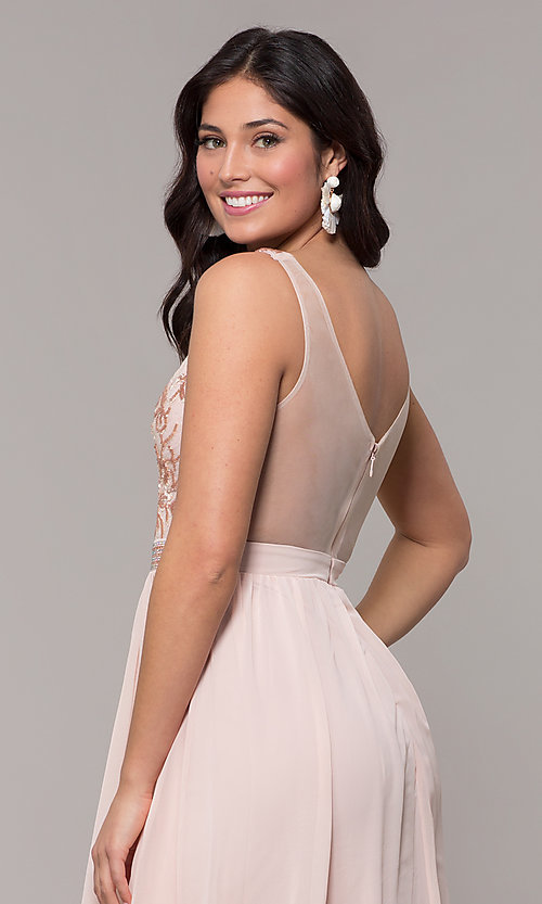 Image of sheer-back long chiffon formal dress with sequins. Style: SOI-M18435 Detail Image 2