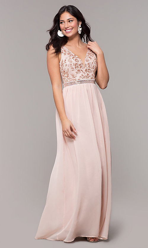 Image of sheer-back long chiffon formal dress with sequins. Style: SOI-M18435 Detail Image 3