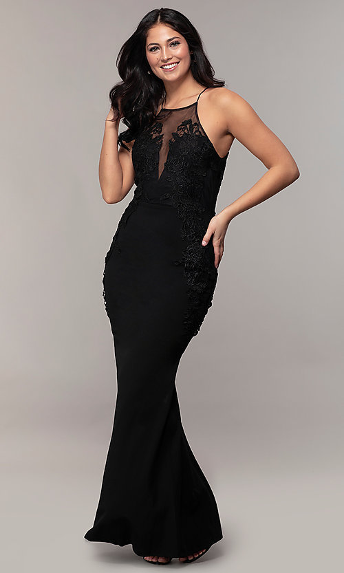 2c0e3787ee04 Image of embroidered-lace-applique high-neck formal dress. Style: SOI