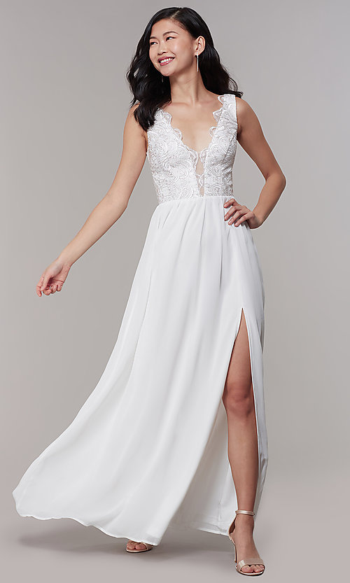 450b2cfda4 Image of gold-embroidered-bodice long ivory formal dress. Style  SOI-