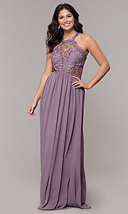Image of high-neck chiffon long prom dress with back cut out. Style: SOI-M18306 Detail Image 6