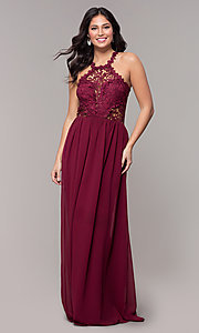 Image of high-neck chiffon long prom dress with back cut out. Style: SOI-M18306 Detail Image 5