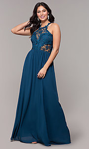 Image of high-neck chiffon long prom dress with back cut out. Style: SOI-M18306 Detail Image 1