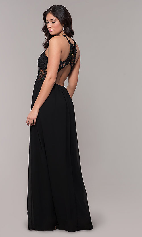 Image of high-neck chiffon long prom dress with back cut out. Style: SOI-M18306 Back Image