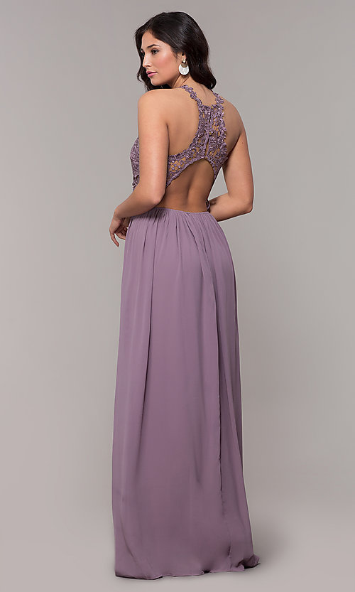 Image of high-neck chiffon long prom dress with back cut out. Style: SOI-M18306 Detail Image 7
