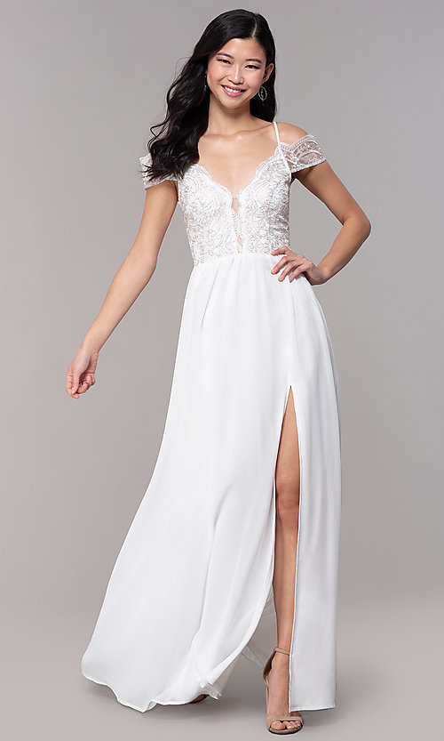 Image of embroidered-bodice off-shoulder long formal dress. Style: SOI-M18500 Front Image