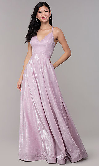 Iridescent-Glitter Open-Back Long Pink Prom Dress