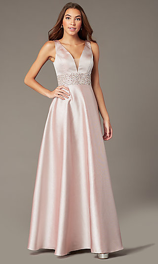 V-Neck Beaded-Waist Long Metallic Prom Dress
