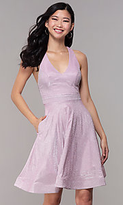 Image of glitter-knit short homecoming party dress. Style: SOI-S18686 Front Image
