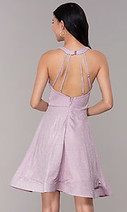 Image of glitter-knit short homecoming party dress. Style: SOI-S18686 Back Image