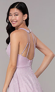 Image of glitter-knit short homecoming party dress. Style: SOI-S18686 Detail Image 2