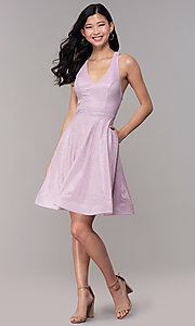 Image of glitter-knit short homecoming party dress. Style: SOI-S18686 Detail Image 3
