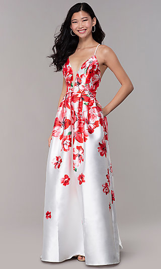 Floral-Print V-Neck Long Formal Open-Back Dress