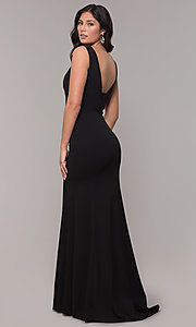 Image of simple long formal dress with deep v-neckline. Style: PO-9066 Detail Image 2