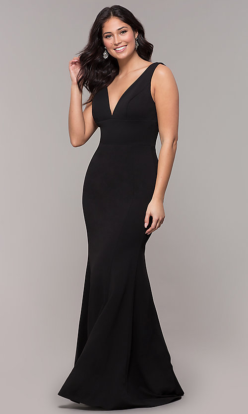 Image of simple long formal dress with deep v-neckline. Style: PO-9066 Detail Image 1