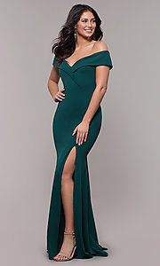 Image of off-the-shoulder long military-ball evening dress. Style: PO-8258 Front Image