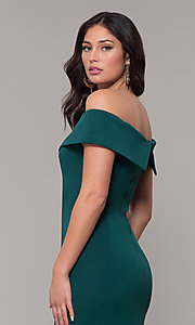 Image of off-the-shoulder long military-ball evening dress. Style: PO-8258 Detail Image 2