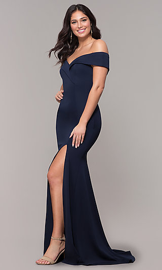 Off-the-Shoulder Long Military-Ball Evening Dress