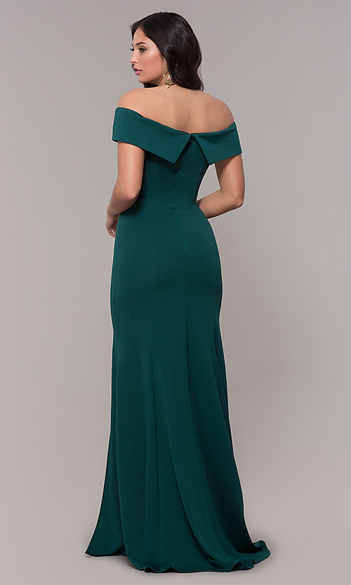 Image of off-the-shoulder long military-ball evening dress. Style: PO-8258 Back Image