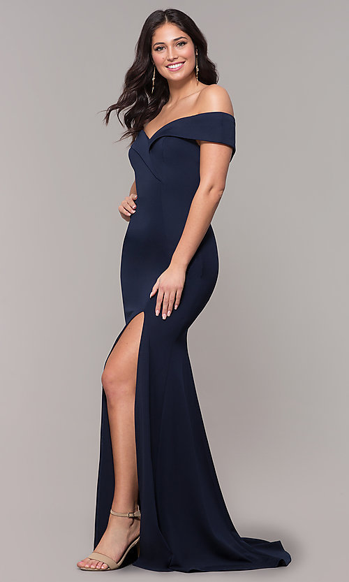 Image of off-the-shoulder long military-ball evening dress. Style: PO-8258 Detail Image 3