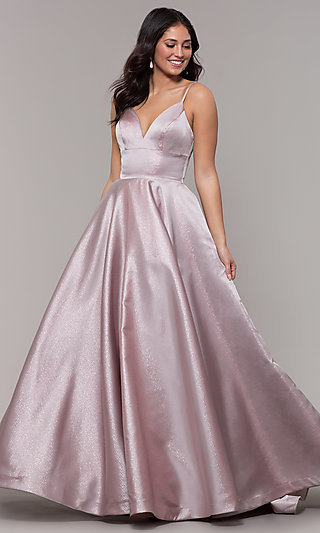 Ballgown-Style Long Prom V-Neck Dress