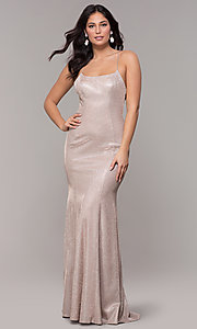 Image of iridescent-knit long open-back prom dress. Style: PO-8478 Detail Image 4